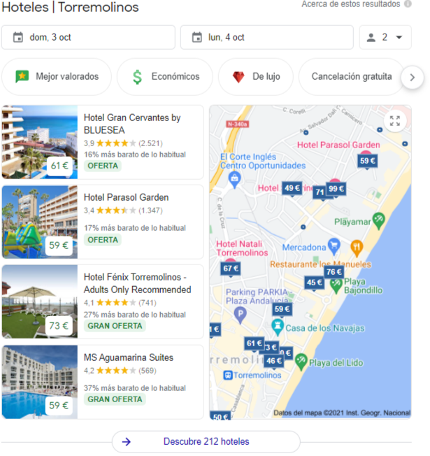 google maps para hoteles